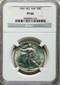 "Proof Walking Liberty Half Dollars, 1941 50C No ""AW"" PR66 NGC. NGC Census: (942/472). PCGS Population(956/291). Mintage: 15,412. Numismedia Wsl. Price for pro..."