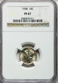 Proof Mercury Dimes: , 1938 10C PR67 NGC. NGC Census: (227/35). PCGS Population (163/5).Mintage: 8,728. Numismedia Wsl. Price for problem free NG...