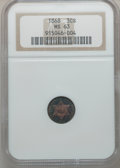 Three Cent Silver, 1868 3CS MS63 NGC....