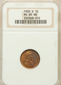 Lincoln Cents: , 1925-D 1C MS65 Red and Brown NGC. NGC Census: (33/0). PCGSPopulation (24/0). Mintage: 22,580,000. Numismedia Wsl. Price fo...