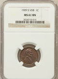 Lincoln Cents: , 1909-S VDB 1C MS61 Brown NGC. NGC Census: (95/922). PCGS Population(15/1011). Mintage: 484,000. Numismedia Wsl. Price for ...