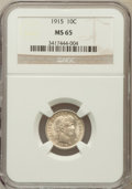 Barber Dimes: , 1915 10C MS65 NGC. NGC Census: (42/8). PCGS Population (48/11).Mintage: 5,620,450. Numismedia Wsl. Price for problem free ...