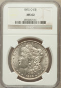 Morgan Dollars: , 1892-O $1 MS62 NGC. NGC Census: (702/2995). PCGS Population(1045/4470). Mintage: 2,744,000. Numismedia Wsl. Price for prob...