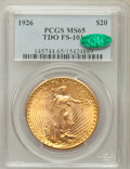 Saint-Gaudens Double Eagles, 1926 $20 TDO FS-101 MS65 PCGS. CAC. PCGS Population (17/6). NGCCensus: (0/0)....