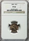 Proof Three Cent Nickels: , 1883 3CN PR66 NGC. NGC Census: (293/85). PCGS Population (348/66).Mintage: 6,609. Numismedia Wsl. Price for problem free N...