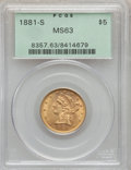 Liberty Half Eagles: , 1881-S $5 MS63 PCGS. PCGS Population (188/101). NGC Census:(249/131). Mintage: 969,000. Numismedia Wsl. Price for problem ...