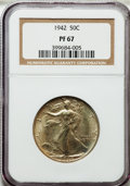 Proof Walking Liberty Half Dollars: , 1942 50C PR67 NGC. NGC Census: (828/159). PCGS Population (754/39).Mintage: 21,120. Numismedia Wsl. Price for problem free...