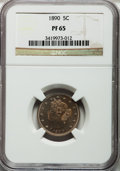 Proof Liberty Nickels: , 1890 5C PR65 NGC. NGC Census: (95/14). PCGS Population (74/9).Mintage: 2,740. Numismedia Wsl. Price for problem free NGC/P...