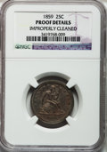 Proof Seated Quarters, 1859 25C -- Improperly Cleaned -- NGC Details. Proof. NGC Census:(0/141). PCGS Population (6/143). Mintage: 800. Numismedi...