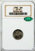 Proof Three Cent Nickels: , 1883 3CN PR67 NGC. CAC. NGC Census: (81/4). PCGS Population (63/4).Mintage: 6,609. Numismedia Wsl. Price for problem free ...