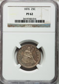 Proof Seated Quarters: , 1876 25C PR62 NGC. NGC Census: (25/133). PCGS Population (32/124).Mintage: 1,150. Numismedia Wsl. Price for problem free N...
