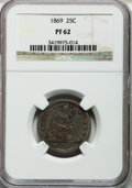 Proof Seated Quarters: , 1869 25C PR62 NGC. NGC Census: (22/111). PCGS Population (38/96).Mintage: 600. Numismedia Wsl. Price for problem free NGC/...