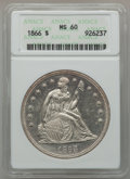 Seated Dollars, 1866 $1 Motto MS60 ANACS....