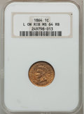 Indian Cents, 1864 1C L On Ribbon MS64 Red and Brown NGC....