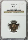 Proof Three Cent Nickels: , 1869 3CN PR65 NGC. NGC Census: (84/13). PCGS Population (72/10).Mintage: 600. Numismedia Wsl. Price for problem free NGC/P...