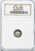 Proof Three Cent Silver, 1867 3CS PR64 Cameo NGC....