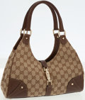 Luxury Accessories:Bags, Gucci Classic Monogram Canvas and Brown Leather Bardot ShoulderBag. ...