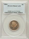 Proof Liberty Nickels: , 1884 5C PR66 Cameo PCGS. PCGS Population (36/3). NGC Census:(32/17). ...