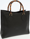Luxury Accessories:Bags, Gucci Black Leather Bamboo Handle Tote Bag. ...