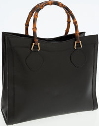 Gucci Black Leather Bamboo Handle Tote Bag