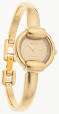 Luxury Accessories:Accessories, Gucci Gold Tone Stainless Steel 1400 L Wrist Watch. ...