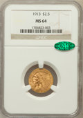 Indian Quarter Eagles: , 1913 $2 1/2 MS64 NGC. CAC. NGC Census: (1018/90). PCGS Population(782/125). Mintage: 722,000. Numismedia Wsl. Price for pr...