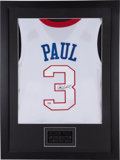 Basketball Collectibles:Uniforms, Chris Paul Signed Los Angeles Clippers Jersey Display. ...