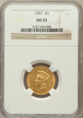 Three Dollar Gold Pieces: , 1857 $3 AU55 NGC. NGC Census: (136/268). PCGS Population (56/106).Mintage: 20,891. Numismedia Wsl. Price for problem free ...