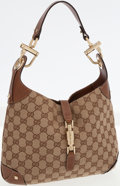 Luxury Accessories:Bags, Gucci Classic Monogram Canvas and Brown Leather Jackie Shoulder Bagwith Piston Closure. ...