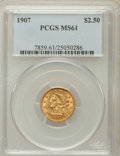 Liberty Quarter Eagles: , 1907 $2 1/2 MS61 PCGS. PCGS Population (461/8089). NGC Census:(700/7500). Mintage: 336,200. Numismedia Wsl. Price for prob...