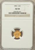 Gold Dollars: , 1853 G$1 AU58 NGC. NGC Census: (1534/8072). PCGS Population(1254/3721). Mintage: 4,076,051. Numismedia Wsl. Price for prob...