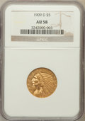 Indian Half Eagles: , 1909-D $5 AU58 NGC. NGC Census: (3163/26714). PCGS Population(2495/25216). Mintage: 3,423,560. Numismedia Wsl. Price for p...