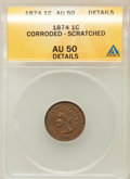 Indian Cents, 1874 1C -- Corroded, Scratched -- ANACS. AU50 Details. NGC Census:(9/266). PCGS Population (40/229). Mintage: 14,187,500. ...