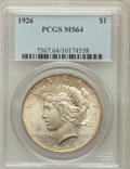 Peace Dollars: , 1926 $1 MS64 PCGS. PCGS Population (3566/1374). NGC Census:(3108/743). Mintage: 1,939,000. Numismedia Wsl. Price for probl...