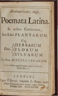Books:Literature Pre-1900, Abraham Cowley. Poemata Latina. London: Roycroft, 1668. Octavo. [34], 288, 293-420 pages. Engraved portrait frontis....