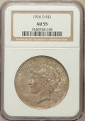 Peace Dollars: , 1926-D $1 AU55 NGC. NGC Census: (95/2953). PCGS Population(158/4818). Mintage: 2,348,700. Numismedia Wsl. Price for proble...