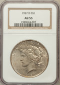 Peace Dollars: , 1927-D $1 AU55 NGC. NGC Census: (132/2540). PCGS Population(206/4423). Mintage: 1,268,900. Numismedia Wsl. Price for probl...