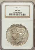 Peace Dollars: , 1925-S $1 AU58 NGC. NGC Census: (225/4255). PCGS Population(206/5739). Mintage: 1,610,000. Numismedia Wsl. Price for probl...