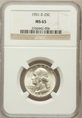 Washington Quarters: , 1951-D 25C MS65 NGC. NGC Census: (531/755). PCGS Population(843/503). Mintage: 35,354,800. Numismedia Wsl. Price for probl...