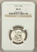 Washington Quarters: , 1951-D 25C MS65 NGC. NGC Census: (527/744). PCGS Population(841/498). Mintage: 35,354,800. Numismedia Wsl. Price for probl...