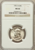 Washington Quarters: , 1951-D 25C MS66 NGC. NGC Census: (613/125). PCGS Population(477/19). Mintage: 35,354,800. Numismedia Wsl. Price for proble...