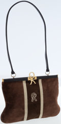 Luxury Accessories:Bags, Roberta di Camerino Brown Velour and Leather Vintage Shoulder Bag....