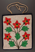 American Indian Art:Beadwork and Quillwork, A PLATEAU BEADED HIDE FLAT BAG. c. 1920...
