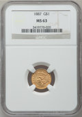 Gold Dollars: , 1887 G$1 MS63 NGC. NGC Census: (66/252). PCGS Population (124/300).Mintage: 7,500. Numismedia Wsl. Price for problem free ...