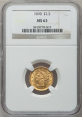 Liberty Quarter Eagles: , 1898 $2 1/2 MS63 NGC. NGC Census: (134/311). PCGS Population(173/254). Mintage: 24,000. Numismedia Wsl. Price for problem ...