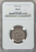Seated Quarters: , 1875 25C MS63 NGC. NGC Census: (42/106). PCGS Population (48/133).Mintage: 4,293,500. Numismedia Wsl. Price for problem fr...