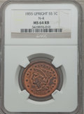 Large Cents, 1855 1C Upright 5s MS64 Red and Brown NGC. N-4. NGC Census:(85/122). PCGS Population (167/67). Mintage: 1,574,829. Numisme...