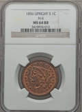 Large Cents, 1856 1C Upright 5 MS64 Red and Brown NGC. N-6. NGC Census:(106/97). PCGS Population (135/33). Mintage: 2,690,463. Numismed...
