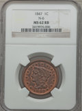 Large Cents, 1847 1C MS62 Red and Brown NGC. N-6. NGC Census: (1/43). PCGSPopulation (0/57). Mintage: 6,183,669. Numismedia Wsl. Price ...