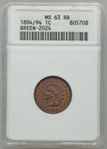 Indian Cents, 1894 1C Doubled Date MS63 Red and Brown ANACS. Breen-2024, Snow-1,FS-301....
